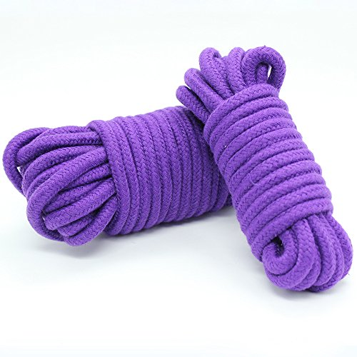 Jepeux 2 Pack 32 Feet 10M Soft Twisted Cotton Bondage Rope (2Purple)