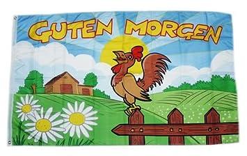 Fahne Flagge Guten Morgen Hahn 90 X 150 Cm Amazonde