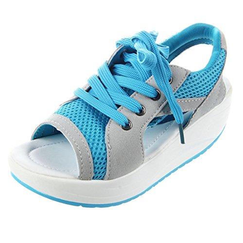 TOOGOO Sommer Neue Fischkopf Sandalen Frauen Schuhe Hang mit Plattform Muffin Blau US4.5 = EUR35 = Fuesselaenge 22,5 cm Blau