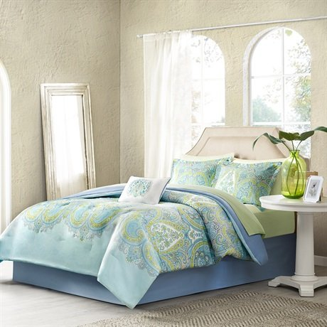 Madison Park Essentials Celeste Complete Bed and Sheet Set, Queen, Aqua