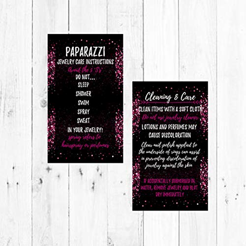 Jewelry Cleaning and Care Cards | Package of 50 | Bling Pink Sparkles Glitter Background | Jewelry Bling Queen Care Instructions