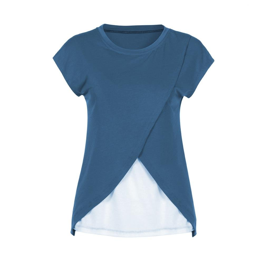 011d40bbc Logobeing Ropa Premamá Camisetas Abrigo de Lactancia de Maternidad para  Mujeres Doble Capa Blusa Camiseta  Amazon.es  Ropa y accesorios