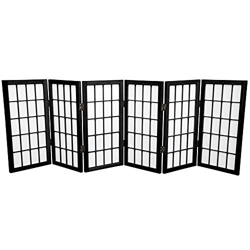 Oriental Furniture 2 ft. Tall Desktop Window Pane Shoji Screen - Black - 6 -