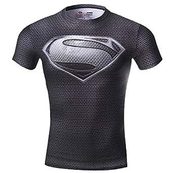 Cody Lundin Hombre Maneja de compresión de Jog Aptitud Movimiento de superhéroe Camisetas Manga Corta (M, Black)