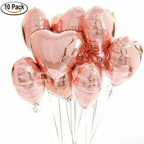 10 Pcs Rose Gold Heart Shape Foil Helium Balloons Love Wedding Birthday Party 18 inch Heart Balaos Baby Shower Globos Decor ()