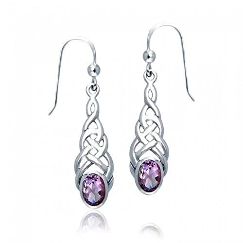 Amethyst Celtic Irish Love Knot Work Purple Oval Bezel Set Fish Hook Dangle Earrings 925 Sterling Silver