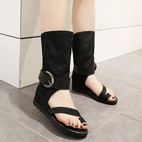 COOLCEPT Mujer Moda Punta Abierta Demin Al Tobillo Tacon De Cuna Boots Sandalias Negro