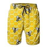 honeybee Honeycomb Bees Men's Basic Swim Trunk M With Pocket
