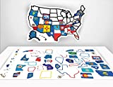 "RV State Sticker Map - 13"" x 17"" inches - RV Trailer Decal Accessories - USA State Flag Decals - Motorhome Road Trip Accessory - Non Magnetic Travel Stickers - Map of US States offers"