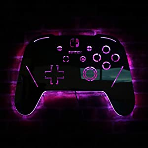 Geek Alerts Gamepad Controller Luminous Wall LED Light Mirror Remote Control USB Powered 7 Color Changing Lighting Display Video Game Decor Boy Room Gaming Zone Wall Sign