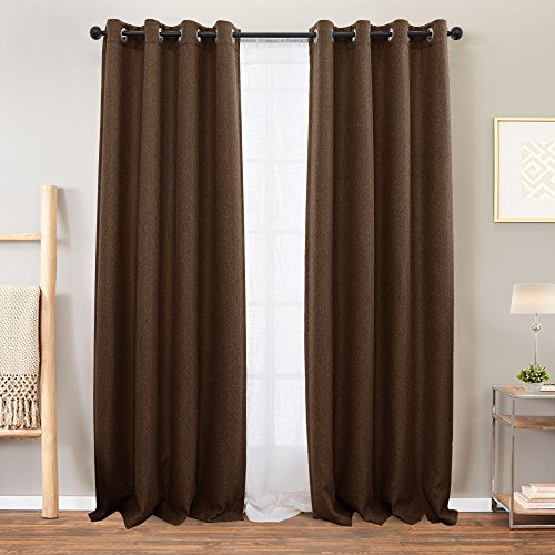 Vangao Linen Textured Curtains Brown Blackout Curtain for Bedroom 84 inches Long Room Darkening Window Drapes Grommet Thermal Insulated Drapery Living Room, 1 Pair
