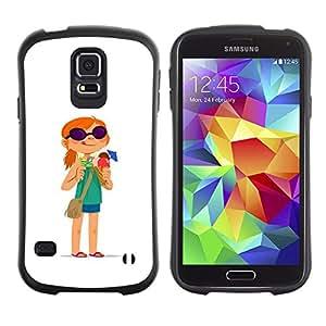 Be-Star Impreso Colorido Diseño Antichoque Caso Del Iface Primera Clase Tpu Carcasa Funda Case Cubierta Par Samsung Galaxy S5 SM-G900 ( redhead girl adventure white cartoon )