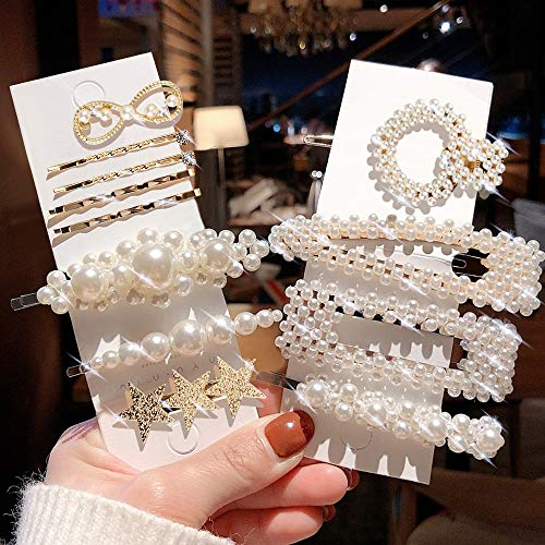 Pearl Hair Clips & Hair Pins & Hair Barrettes with Diamond, Star Shape Shell Style Golden Styling for Girls Decorative Hair Accessories 12 pcs