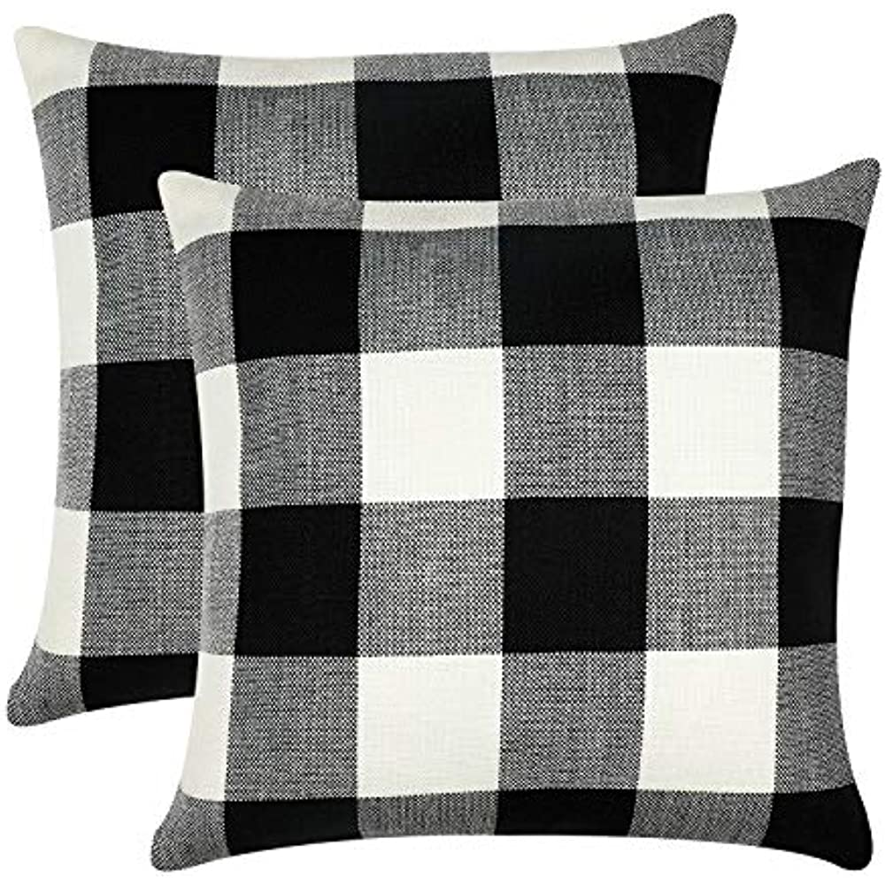 Awesome Details About Farmhouse Decorative Buffalo Check Plaid Pillow Covers Black White Classic Linen Short Links Chair Design For Home Short Linksinfo