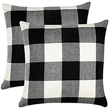 GirlyGirl Boutique Farmhouse Decorative Buffalo Check Plaid Pillow Covers Black and White Classic Linen Throw Pillow Covers for Couch, Bed, Sofa,Pack of 2(20 x 20 Inch)