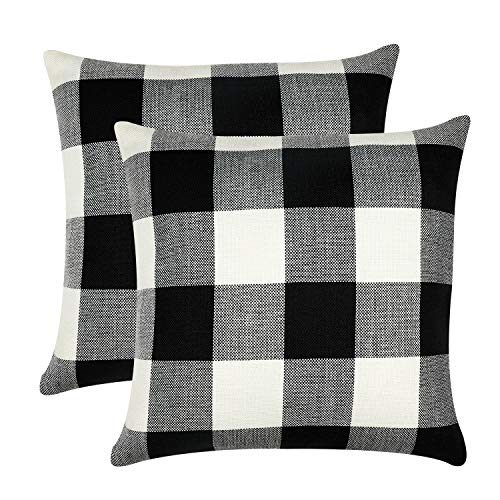 GirlyGirl Boutique Farmhouse Decorative Buffalo Check Plaid Pillow Covers Black and White Classic Linen Throw Pillow Covers for Couch, Bed, Sofa,Pack of 2(18 x 18 Inch) (Buffalo Check Pillow Black)
