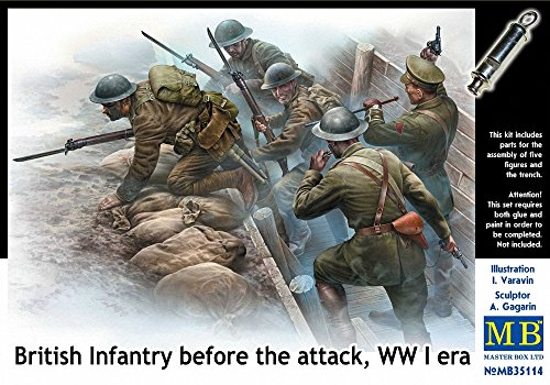 Master Box Models 1/35 British Infantry Before The Attack WWI Era with Mini-Diorama Trench 5 Figure (Attack Model Kits)