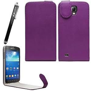 Sleek Gadgets–morado Funda de piel con tapa y negro lápiz capacitivo para Samsung Galaxy S4Active i9295