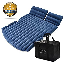 RikkiTikki SUV Air Mattress – Inflatable Car Mattress with Pump and Suitcase – Car Mattress SUV, Minivan, Hatchback, Camping Tent