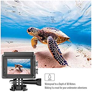 Runme 4K Sports Action Camera, 12MP Wi-Fi Camera 170-Degree Wide-Angle Lens, Underwater Action Cam with 2.4G Remote Control and Accessories (Runme R2)