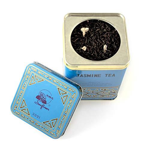 Premium Version Blue Tin with Stronger Jasmine Flavor, Sunflower Jasmine Tea, 0.5 LBS (227g)