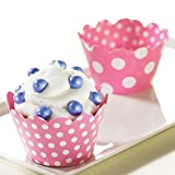 BirthdayExpress Pink and White Polka Dots Reversible Cupcake Wrappers