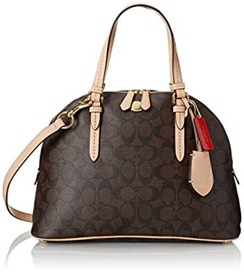Coach Peyton Signature Domed Cora Satchel in Brown & Tan - Style 26184