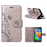 MOONCASE Galaxy Grand Prime Wallet Case Flower Pattern Premium PU Leather Case for Samsung Galaxy Grand Prime G530 Bookstyle Soft TPU [Shock Absorbent] Flip Bracket Cover Grey