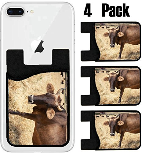 MSD Phone Card holder, sleeve/wallet for iPhone Samsung Android and all smartphones with removable microfiber screen cleaner Silicone card Caddy(4 Pack) IMAGE ID 35597646 Cow standing in a meadow by MSD