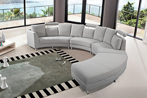 Velago Rossini Light Grey Modern Design Circular Sectional Sofa | Half Round Fabric Upholstered Curved Couch,