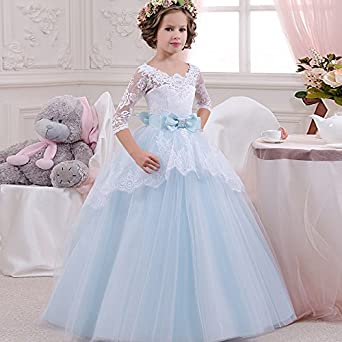 Ciwana Little Girls Evening Dresses Gauze Mesh With Bowknot Sash