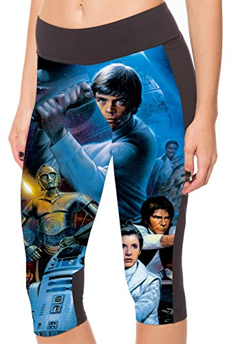 Lady Queen Women's Star Wars Knee Length Tight Sports Capri Pants M -