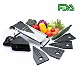 vegetable v slicer - V-Blade Mandoline Slicer,Vegetable Fruit Cutter,Juliennce Cutter,Stainless Steel including 5 interchangeable Blades