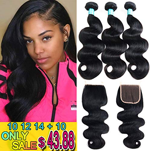 Siji Mei Brazilian Body Wave With Closure 100% Unprocessed Virgin Human Hair 3 Bundles With Closure Natural Black Color Weave And 4x4 Inch Lace Closure (10 12 14 with 10, Free Part)