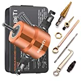 Double Headed Sheet Metal Nibbler, REXBETI Drill Attachment Metal Cutter with Extra Punch and Die, 1 Cutting Hole Accessory and 1 Step Drill Bit, Perfect for Straight Curve and Circle Cutting (gold)