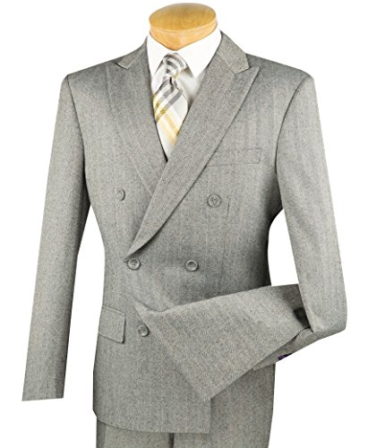 Vinci Men's Brushed Herringbone Striped Double Breasted 6 Button Slim-Fit Flannel Suit NEW