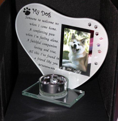 Grabschmuck Teelichthalter, Glas, einzigartig In Gedenkstein für Hunde, englische Aufschrift
