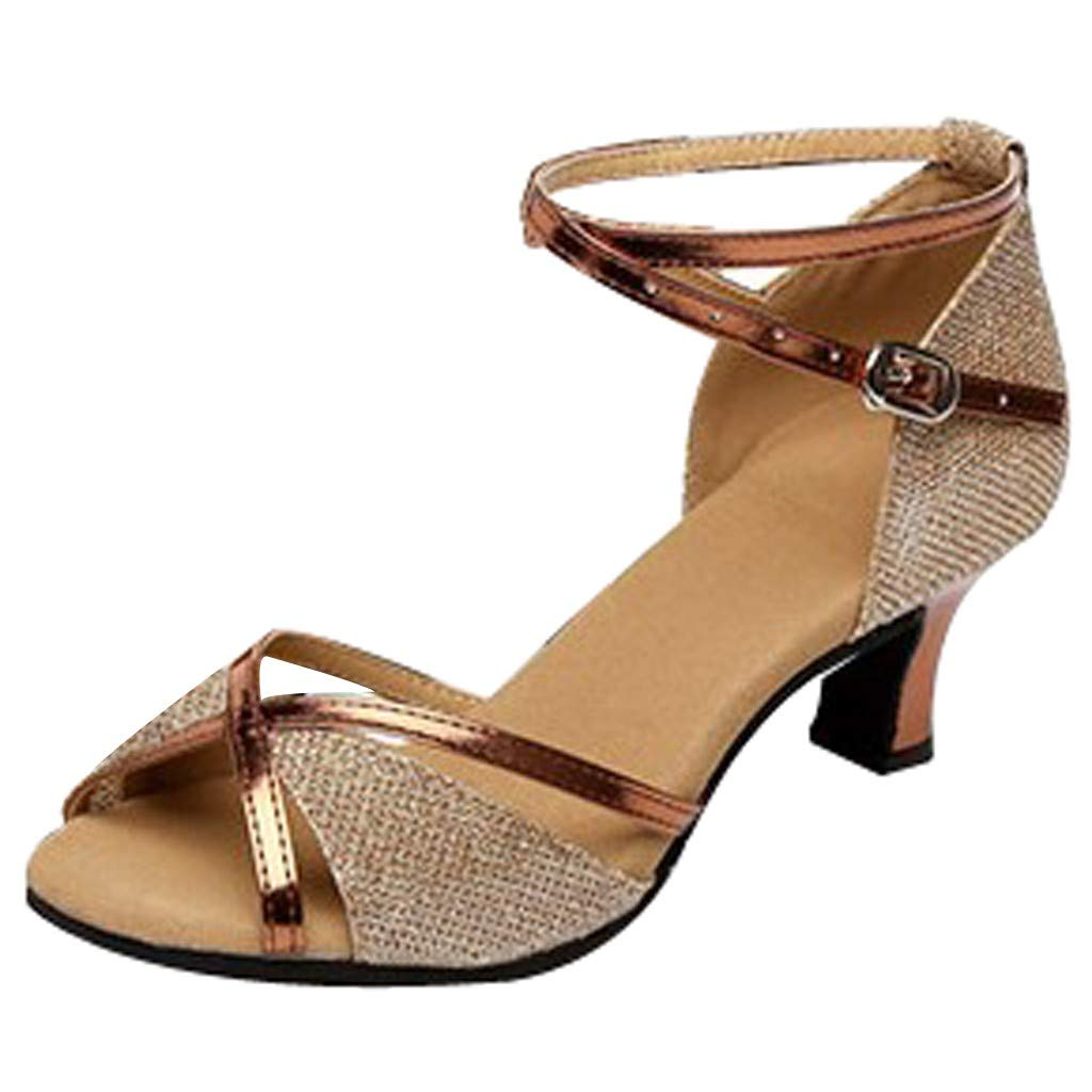 kaifongfu Women's Fish Mouth Adult Latin Dance Shoes High School with Soft Bottom Square Dance Shoe(Gold,35)