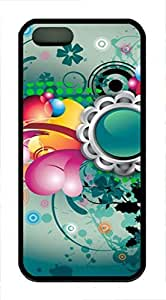 iPhone 5 5S Case Abstract Art Flowers Color Pattern TPU Custom iPhone 5 5S Case Cover Black