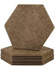 SEHOI Paquete de 16 paneles de absorción acústica hexagonales de 33 x 30,4 cm x 0,4 pulgadas, acolchado a prueba de sonido de alta densidad con borde biselado, panel de aislamiento de sonido para teatro, estudio de grabación, oficina, café oscuro