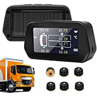 6 Trucks Tyre Pressure Monitoring System, Big Screen TPMS with 6 External Sensors Solar Power Car Tire Pressure Auto…