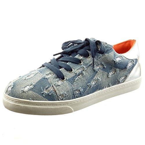 Sopily - Scarpe da Moda Sneaker slip-on alla caviglia donna lucide lines Tacco a blocco 2 CM - Blu
