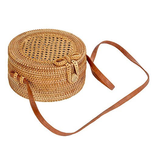 G Beach Woven Bag Bag Gaeruite bag Braided Straw Women Rattan Picnic A Handmade Girl Round For Shoulder Straw Summer Bag Handbag RwzqwBx