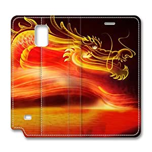 Brain114 Fashion Style Case Design Flip Folio PU Leather Cover Standup Cover Case with China Dragon Oriental Style 1 Pattern Skin for Samsung Galaxy Note 4