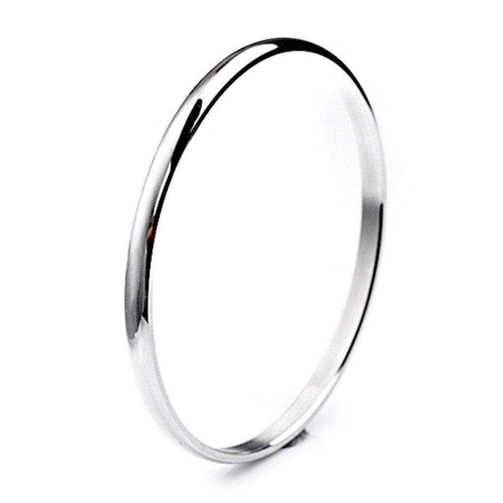 """Bystar Women Stainless Steel Bracelet Domed Slip on Bangle Stackable 5mm Seamless 8"""" Perimeter"""