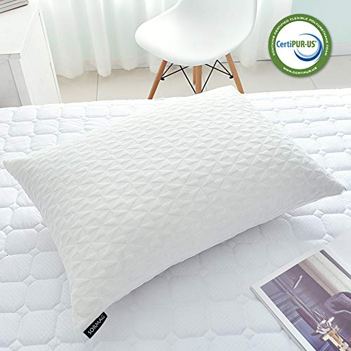 SORMAG Bed Pillows for Sleeping (Queen Size) Adjustable Loft Bed Pillows,Memory Foam Pillow for Washable Removable Cooling Bamboo - Size Memory Pillow Foam Queen