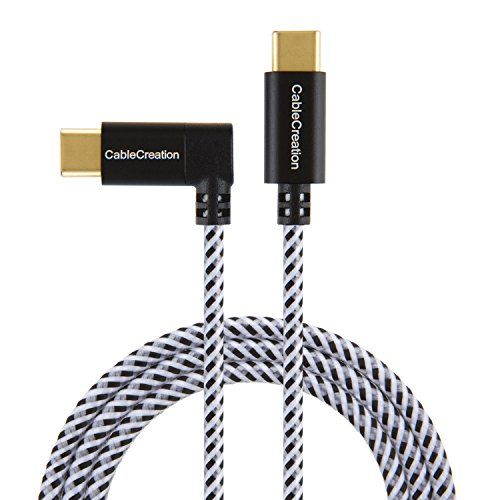 Right Angle USB-C to USB-C Cable 4ft, CableCreation 90 Degree USB Type C Braided Cable, Compatible MacBook(Pro), Pixel C, Nintendo Switch, Galaxy S9 S9+ etc, 1.2M/ Black & White with Aluminum Case
