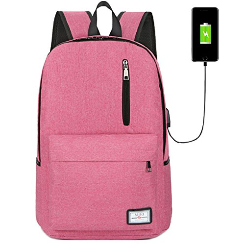 Resistant Laptop Backpack with USB Charging Port Fits Under 15.6-Inch Laptop and Notebook (Red) (Linen Everyday Pocket Folder)