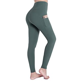 OUGES Womens High Waist Pockets Yoga Pants Running Pants Workout Leggings(Green,XL)