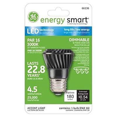 GE Lighting 66136 Energy Smart LED 4.5-Watt (25-watt replacement) 180-Lumen PAR16 Floodlight Bulb with Medium Base, 1-Pack